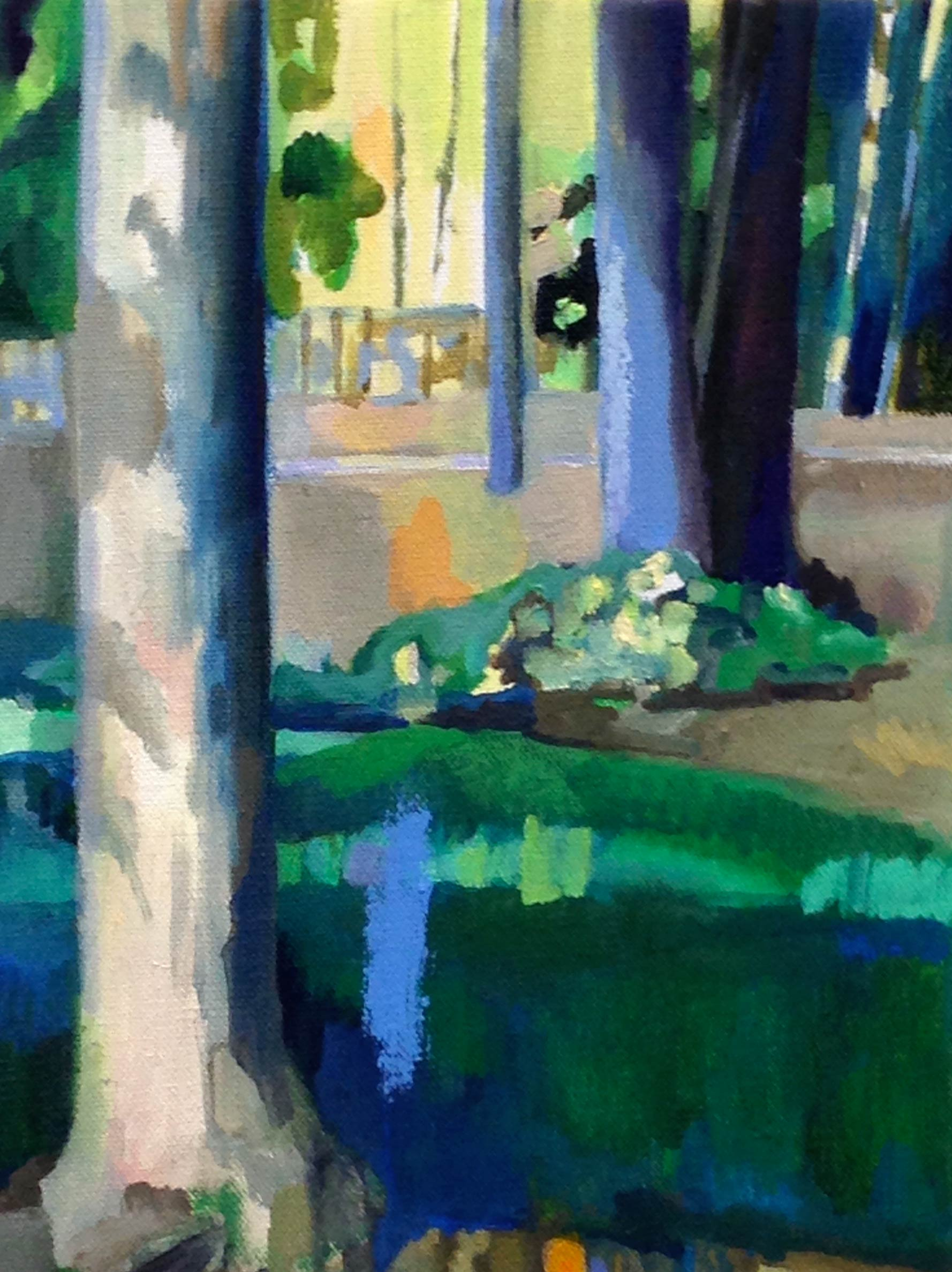 Trees with Blue   oil and oil stick 12 x 9 inches, 2015