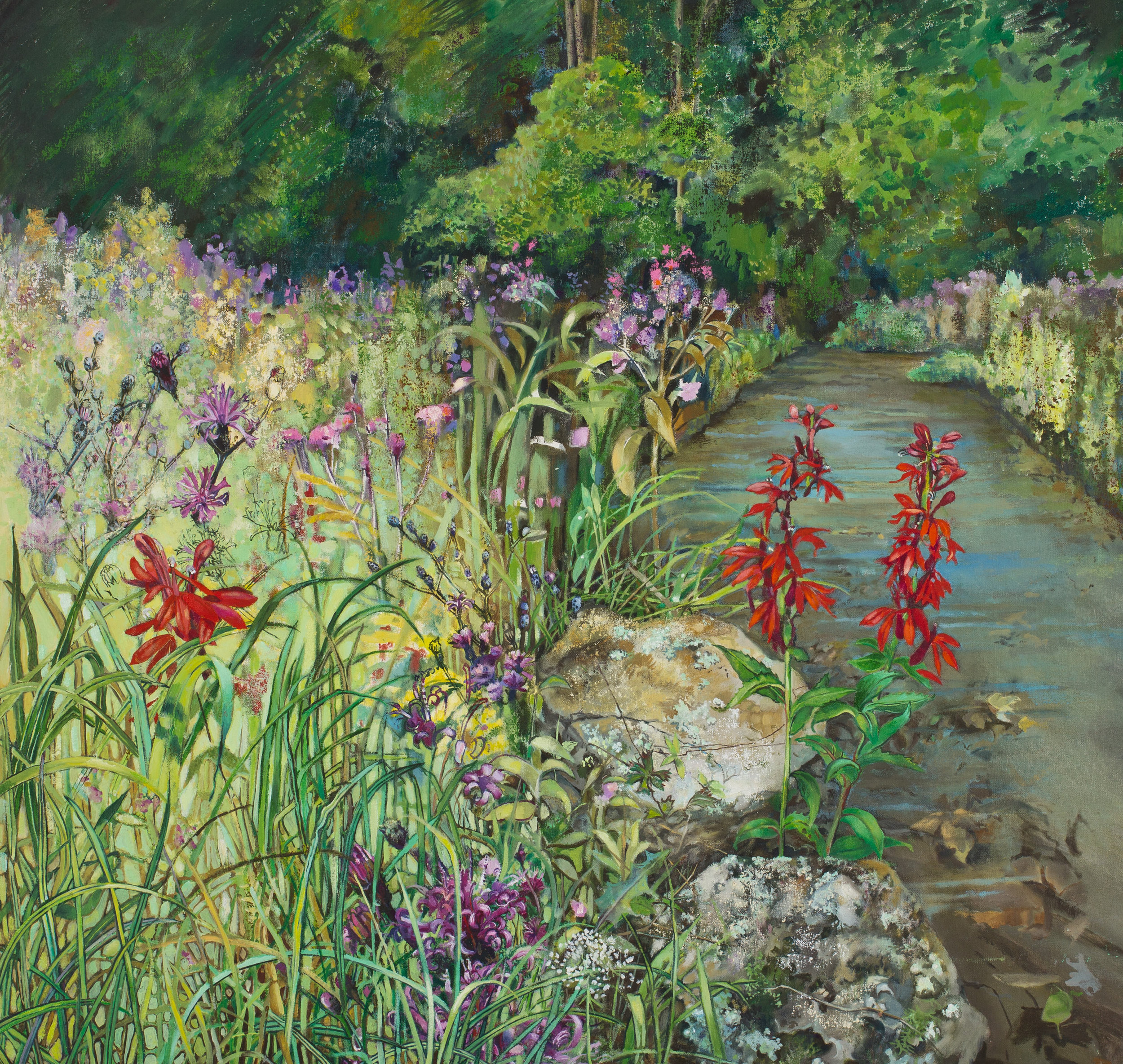 Cardinal Flowers, Meadow, Stream