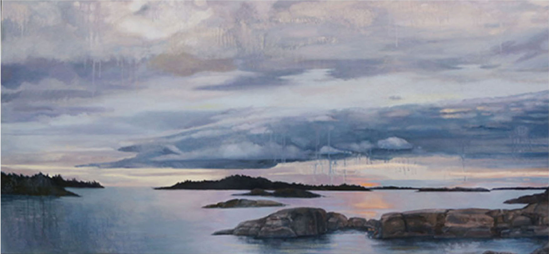 Islands Disappearing, oil and oil stick on canvas, 31 x 67 ½ inches, 2005