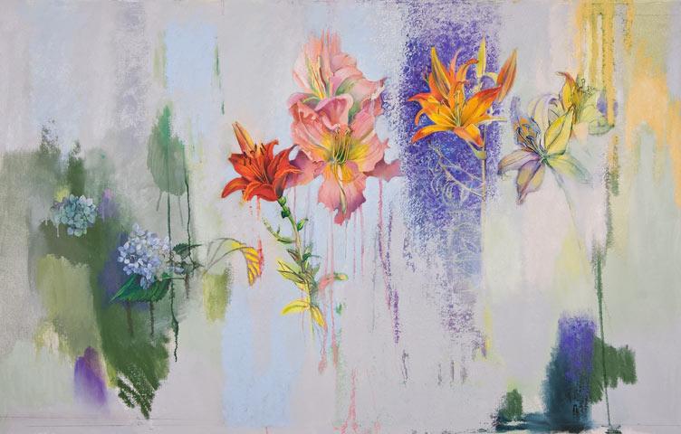 Daylilies, Oriental Lily, Blue Hydrangea