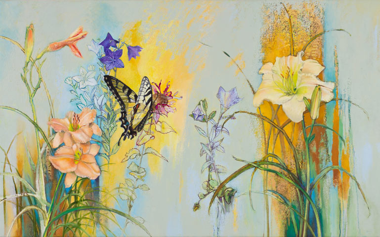 Yellow swallowtail, Daylilies, Balloon Flowers
