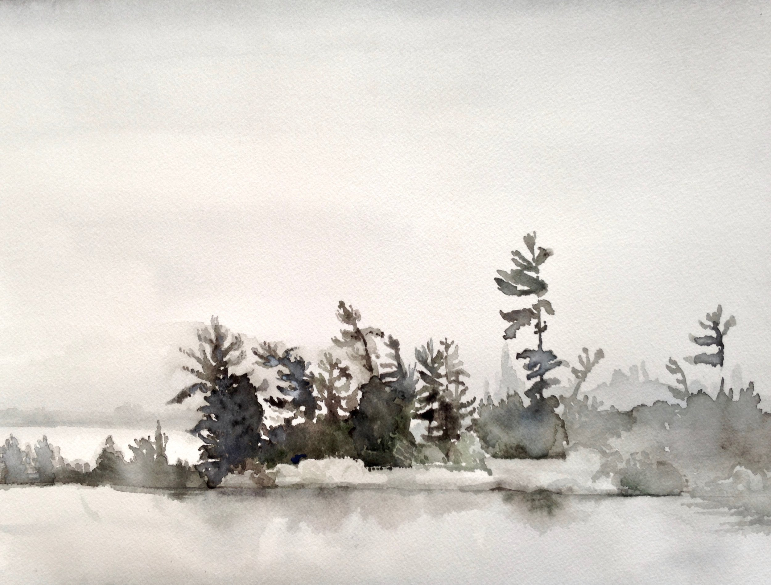 Island Fog, 12 x 16 inches, 2017