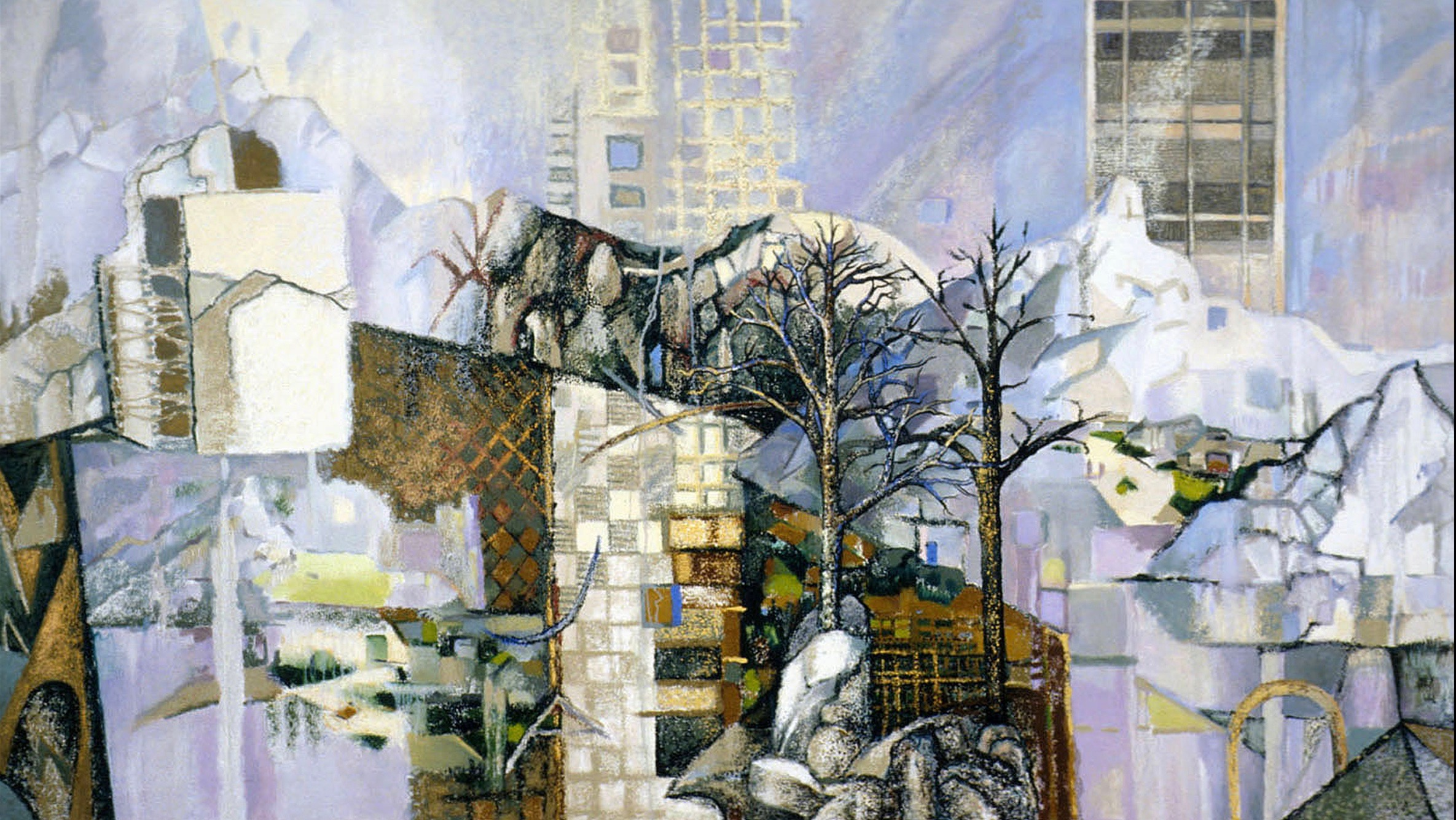 Mt. Ste Victoire: Homage to Cezanne and Anni Albers, oil stick and oils on canvas, 49 x 86 inches, 2003