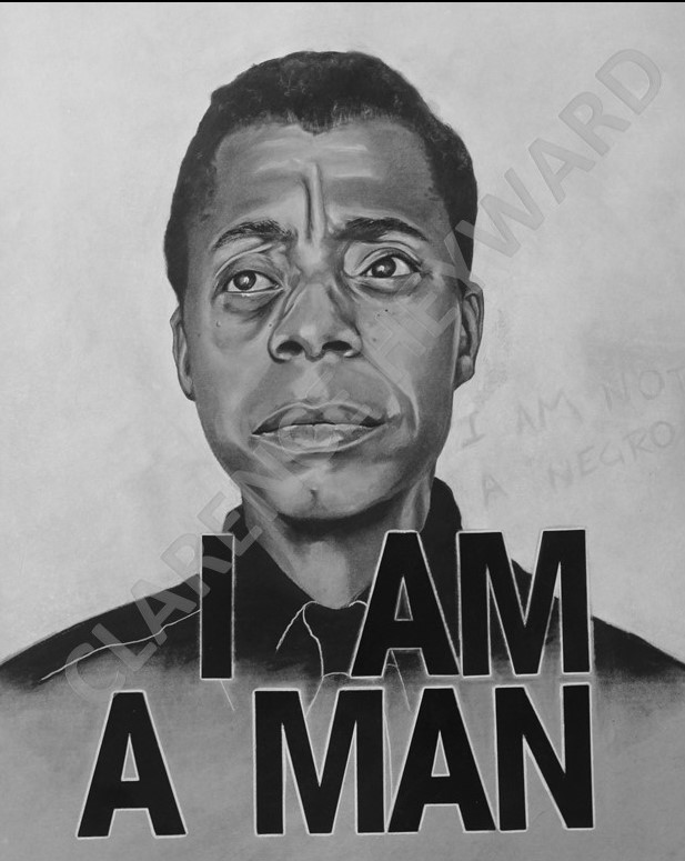 "BALDWIN -  $600                                        Charcoal on paper, Framed, 20"" x 28"""