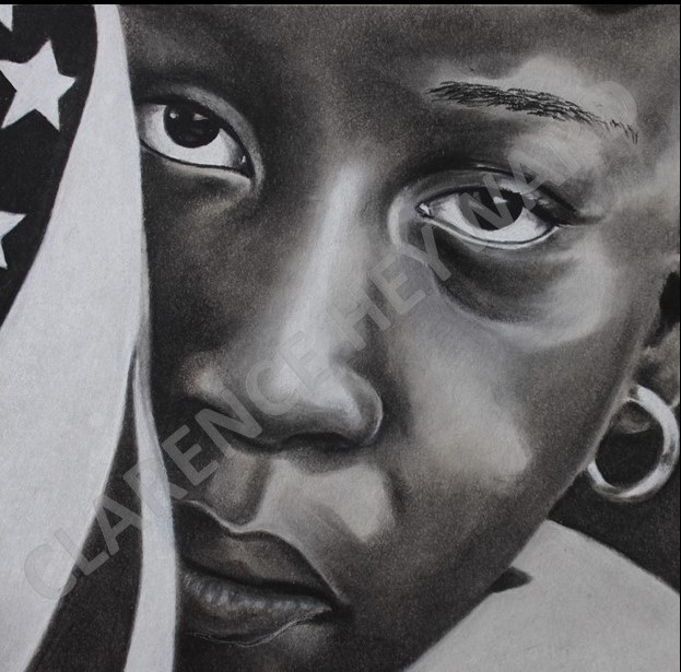 AMERICAN DREAM -  $300  Charcoal on paper, Framed, 16'' x 20 ""