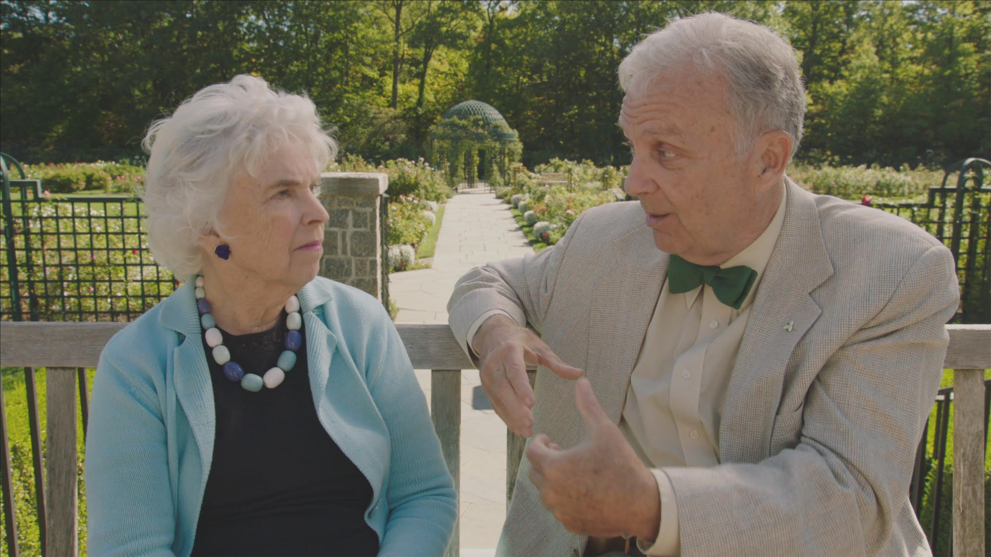Lynden B. Miller and Patrick Chassé in NYBG's Peggy Rockefeller Rose Garden.