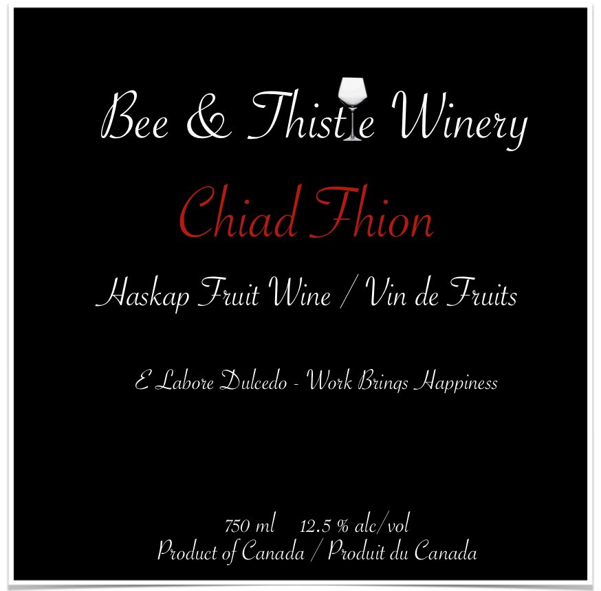 "Chiad Fhion - Gaelic for ""First Wine""Available fall 2019"