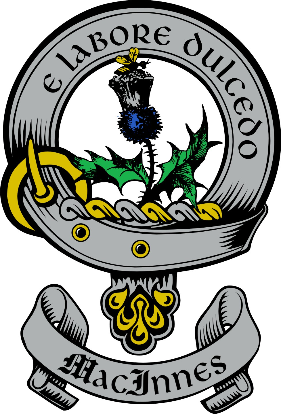 - This first crest and motto was adopted in the 13th century during the Viking raid on Morvern described above. The traditional emblem of the clan is the bee on a thistle flower, with the Gaelic motto:'E Labore Dulcedo' -