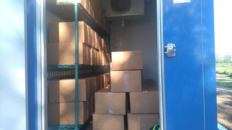 - Then the berries were put in boxes and buckets and loaded into the freezer cooler, cooled overnight to -4C, and then transported to the storage warehouse freezers where they will be maintained at -18C until needed.