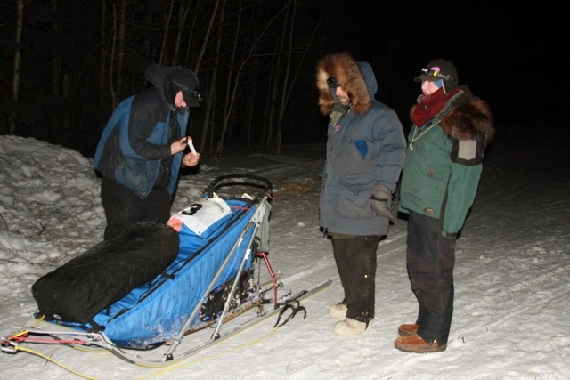 Matt Hall, Wayne Hall, Scarlett Hall Eagle Checkpoint Yukon Quest Dog Sled Race