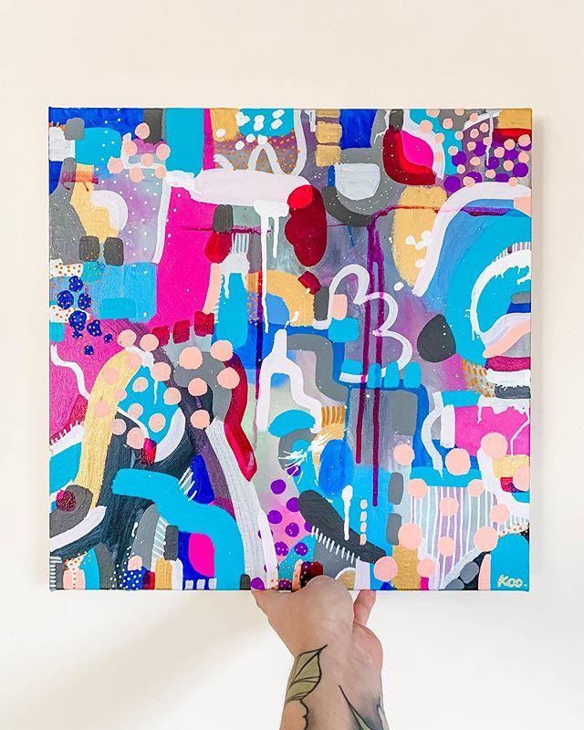 "Hello to my new piece ""Jello Shot"" 😊 Now available in my #Etsy store, £95 inc free UK delivery. Link in bio 🥰  Happy hump day ya'll!  #artist #surreyart #londonartist #colour #brightabdbold #squarepainting #hiptobesquare #drip #kootreadwell #womenwhopaint #modernart #contemporaryarts #love #humpday #abstractartorg #etsyselleruk #etsysellers"