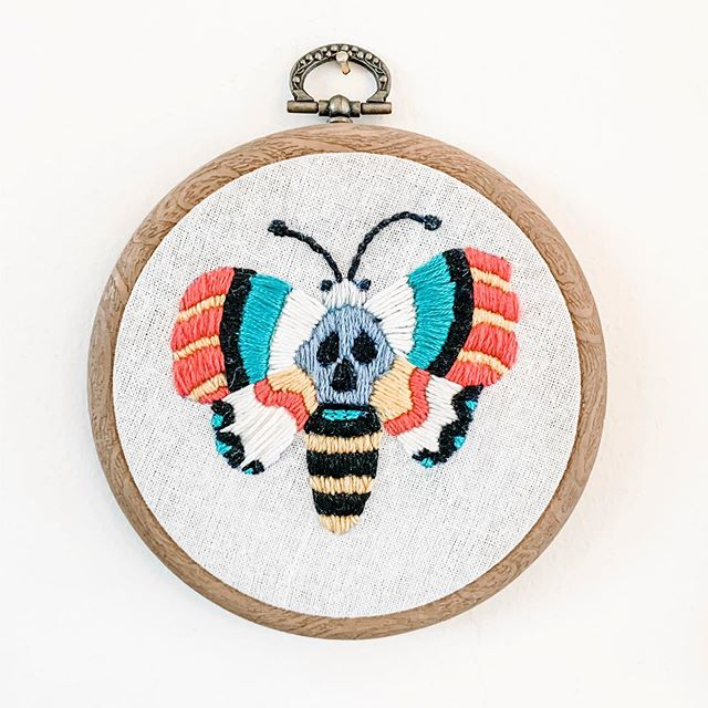 Found this moth I embroidered a few years ago 🥰 I love Moths - I've a couple of them tattooed on me and hoping to get more soon.  Hope everyone's day is going well x  #lovemothernature #moths #embroidery #broderie #fibrearts #crafty #artsandcraftshome #nature #colour #tbt #circlehoop #minihoop #needlepoint #craftylife #createdonthate #kootreadwell