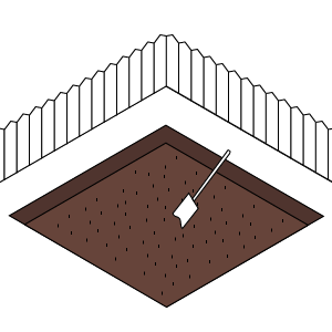 1) Remove turf - and any other existing plant growth from the installation site to a depth of 100mm.