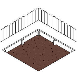 2) Create an edge around the boundary - with treated timber, knock wooden stakes into the corners to support the edging boards.