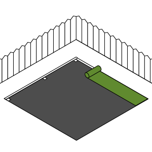 6) Lay the grass - starting from one corner lining up with the edge of the timber. Make sure the grass is taught and there are no lumps and bumps.
