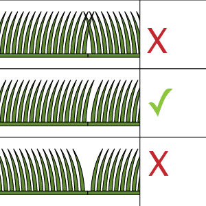 8) Lay the next roll of grass - Ensuring that the pile is facing in the same direction.