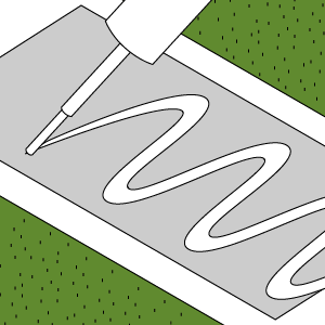 9) Lay joining tape and apply glue - By folding the edges of both pieces of grass back a couple inches and placing the joining tape in the gap with the waterproof side facing down. Apply glue in a zigzag shape if you are using the non-adhesive tape.