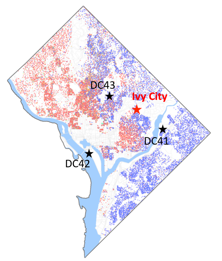 Washington DC map of race and ethnicity (2014) where red indicates the white population and blue indicates the black population. Black stars are the three closest DDOE (District Department of the Environment) monitoring stations. Demographic map taken from Wikipedia.