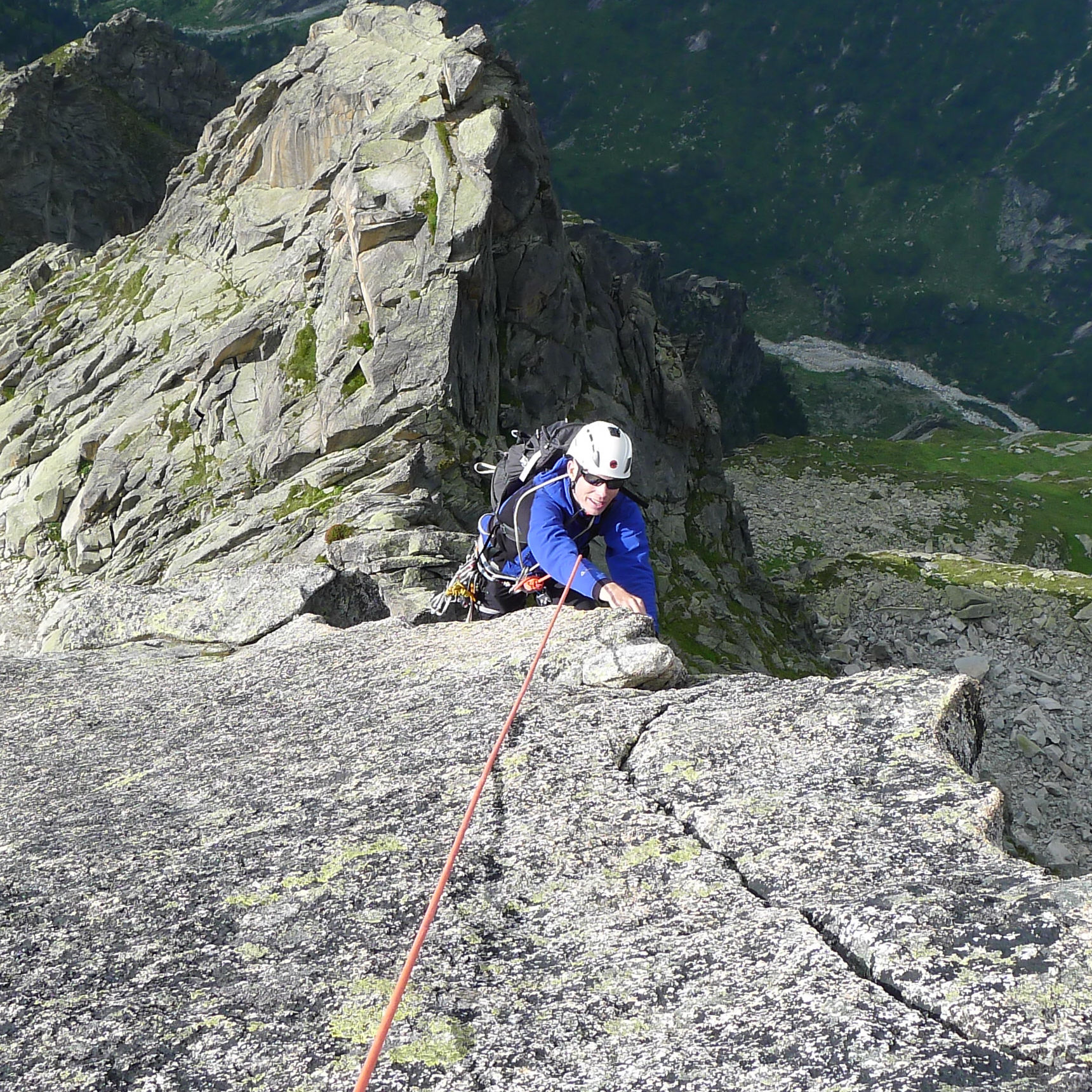 Olly climbing the immaculate South ridge of the Salbitschen Swiss Alps.jpg