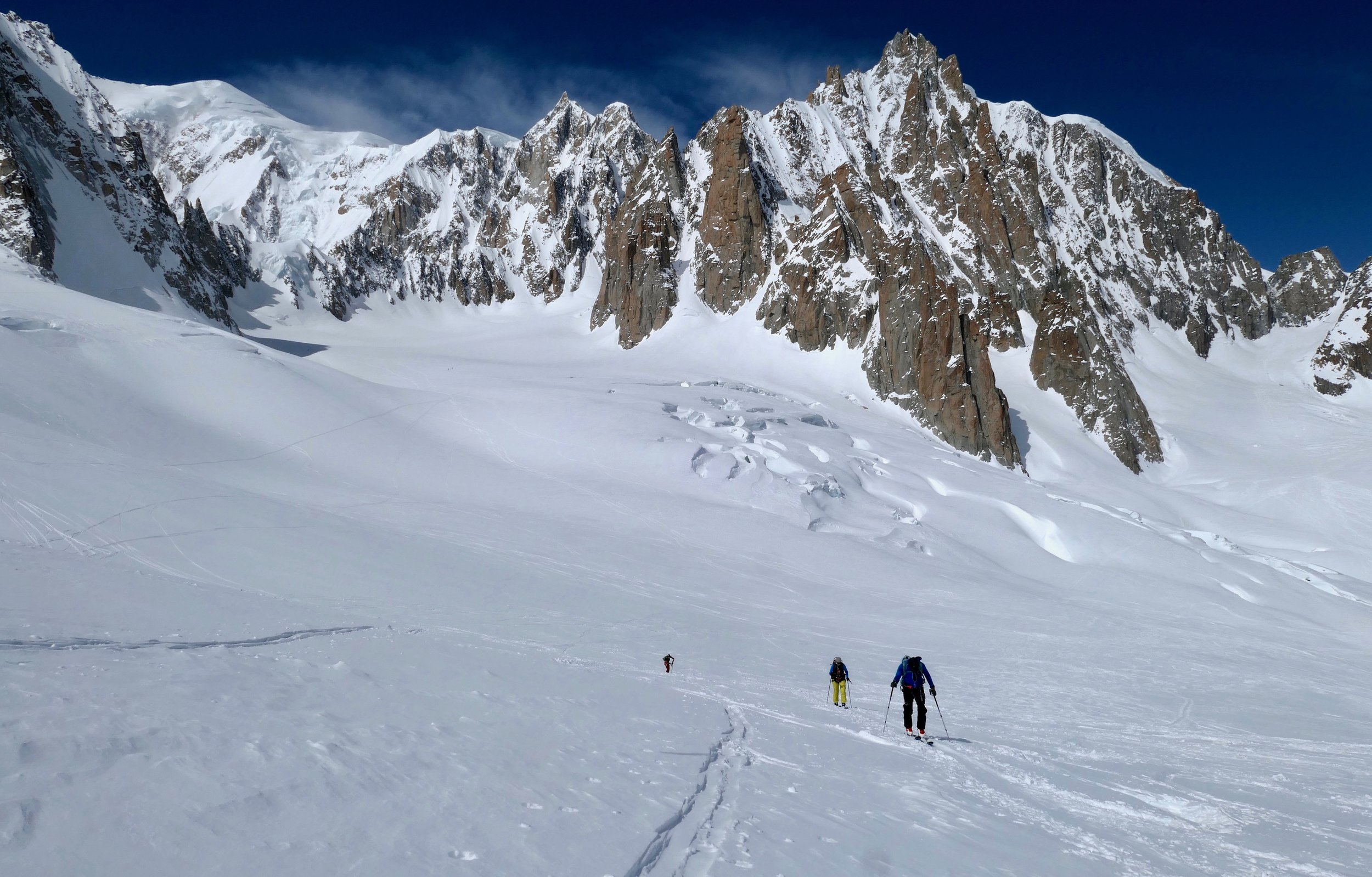 Touring on the Italian side of the Vallee Blanche, with Mont Blanc de Tacul behind