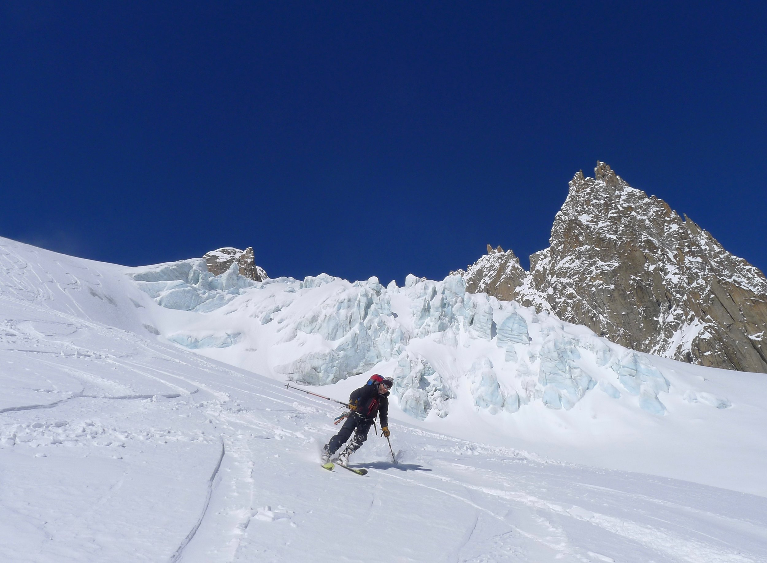 Glacial scenery skiing in the Vallee Blanche, Chamonix. Dave Palmer skiing