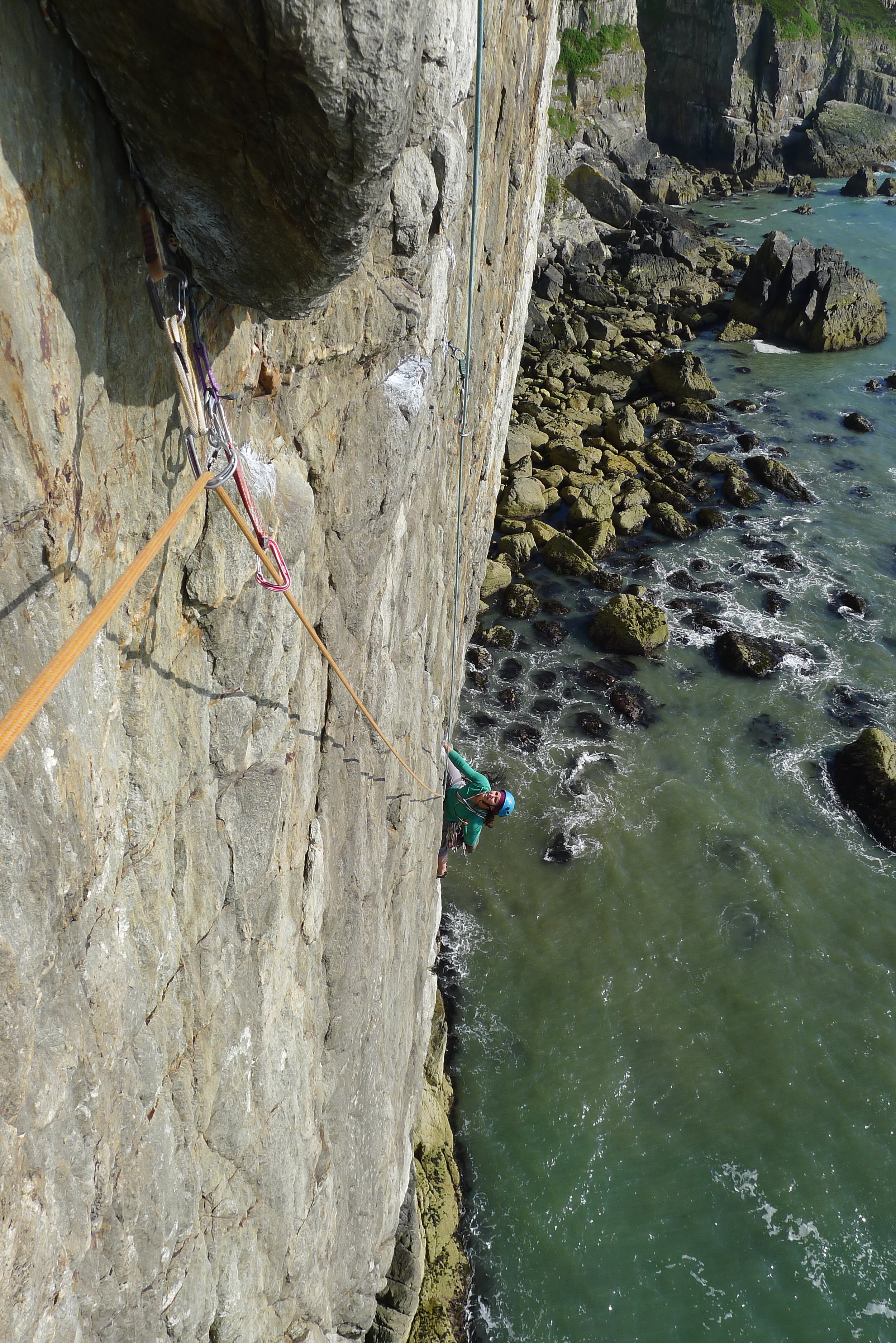 Sophie Whyte follows the headwall pitch of Positron, Gogarth