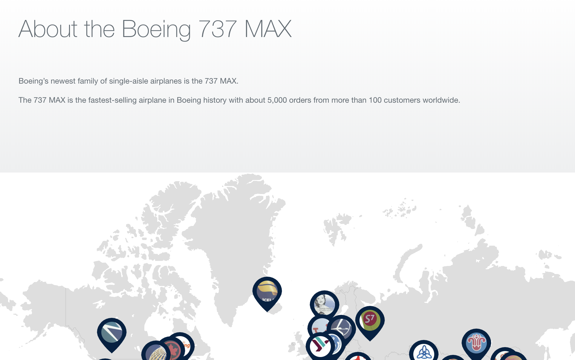 Boeing still publishing proud 737 Max text on its website.