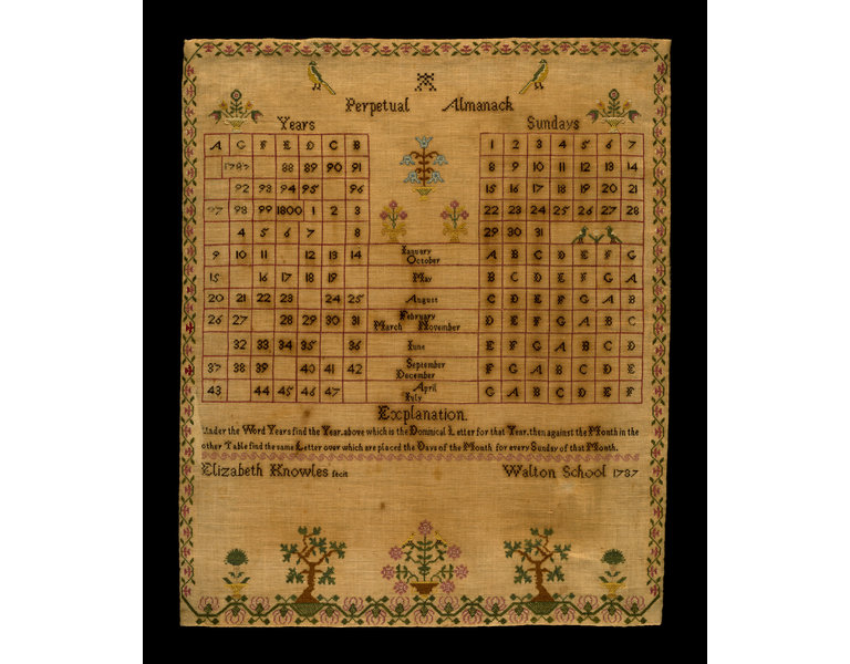 Elizabeth Knowles's embroidered perpetual almanac, 1787. (   Courtesy of V&A's collections   )