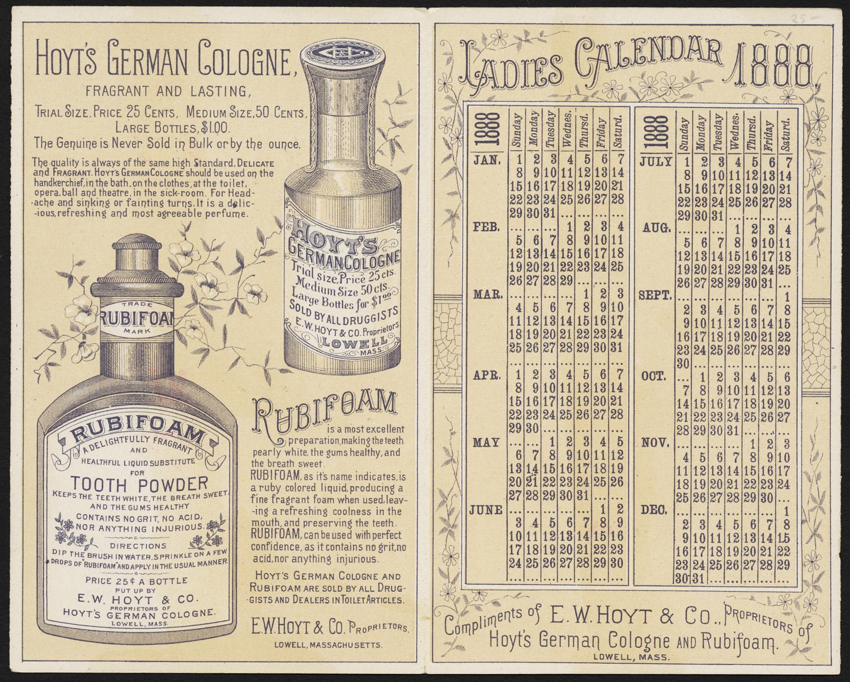 Brand sponsored calendar 1888.