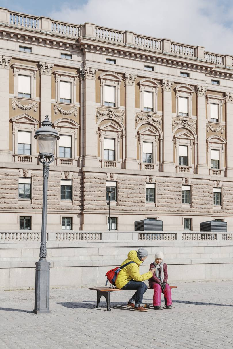 Thunberg speaks to a journalist outside the Riksdag in Stockholm, on April 12, 2019   Credit: Getty Images