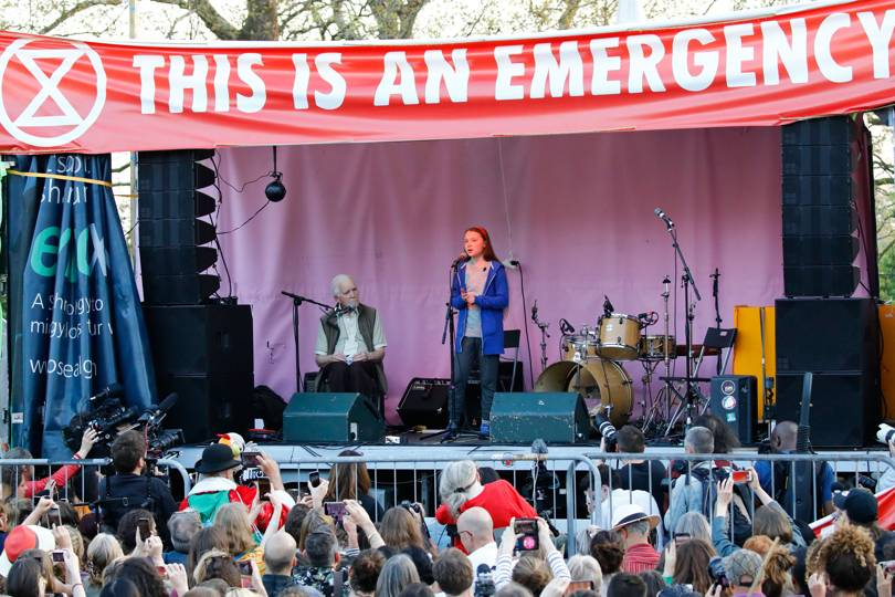 Thunberg addresses the Extinction Rebellion protest in London, April 2019   Credit:Getty Images