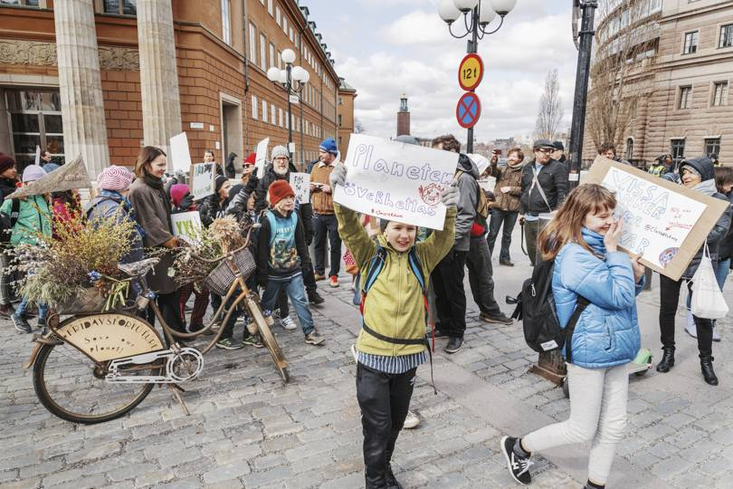 A #FridaysForFuture protest outside the Riksdag in Stockholm   Credit: Getty Images