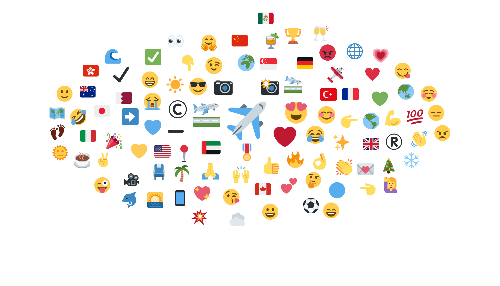Most used emojis for airlines brands
