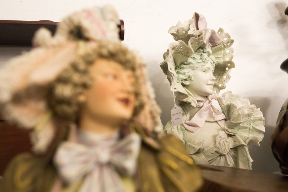 Two royal dux porcelain busts wait to be auctioned at the fine art and antique auction .