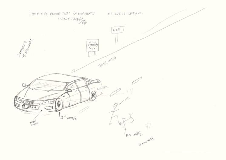 Mihais tekening van het moment dat hij in de podcast hervertelt.