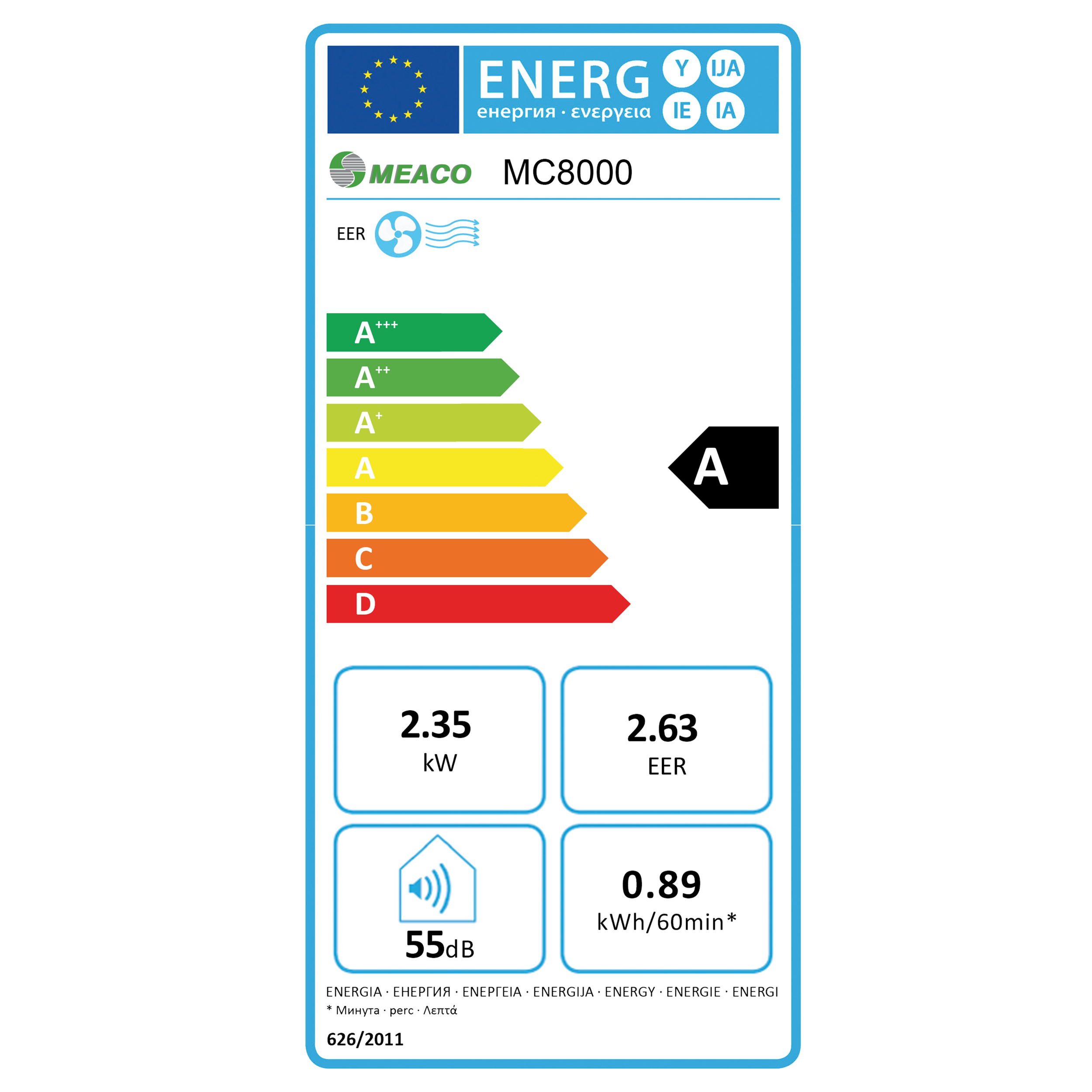 Meaco MC 8000 Energy label.png