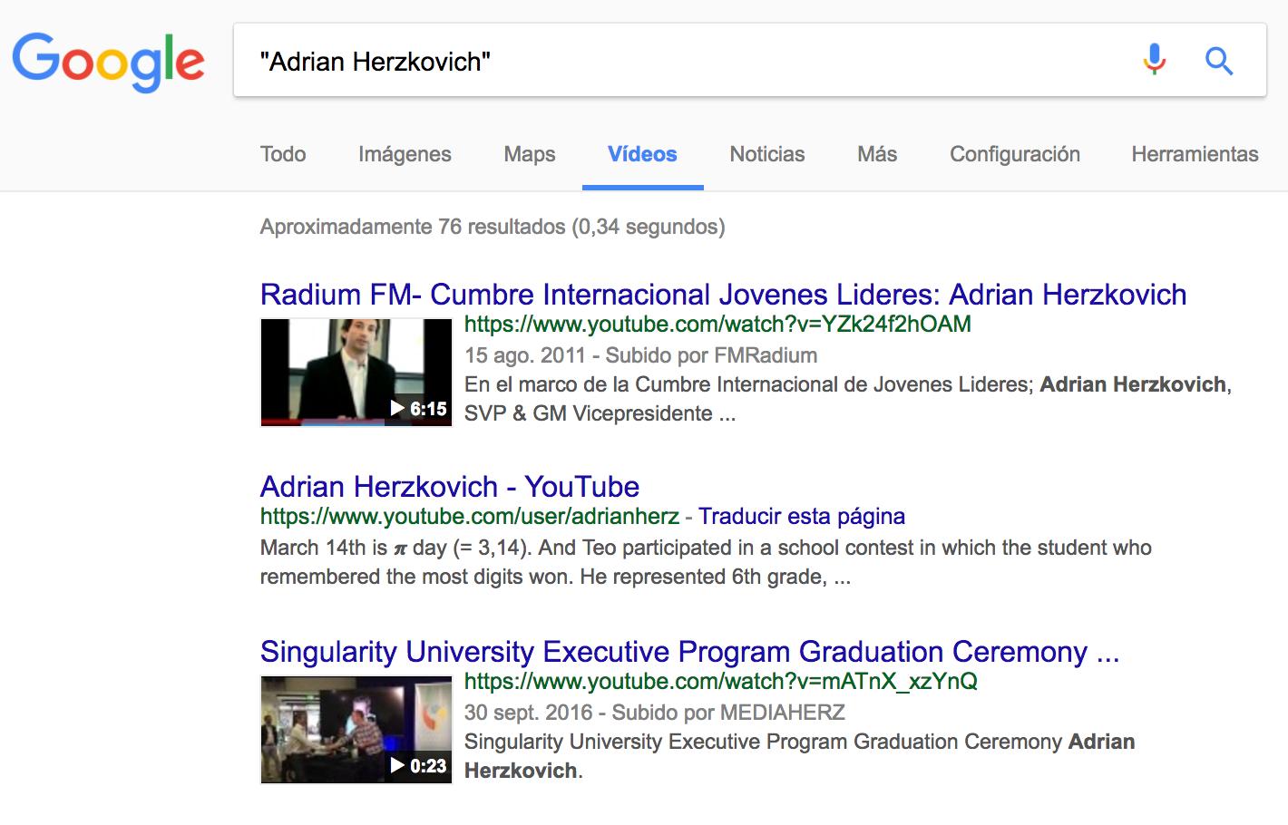 Adrian Herzkovich - Google - Videos