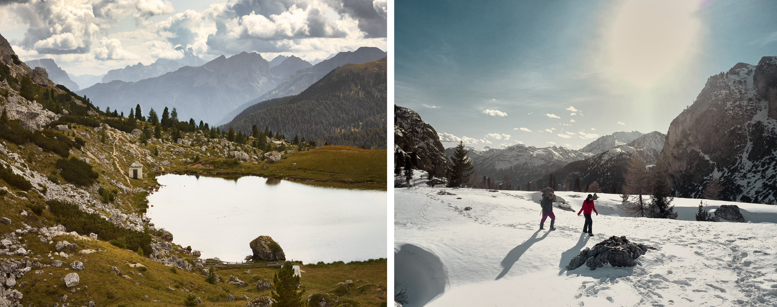 Lago di Val Parola in summer and the more challenging (but fun) winter hiking in the area