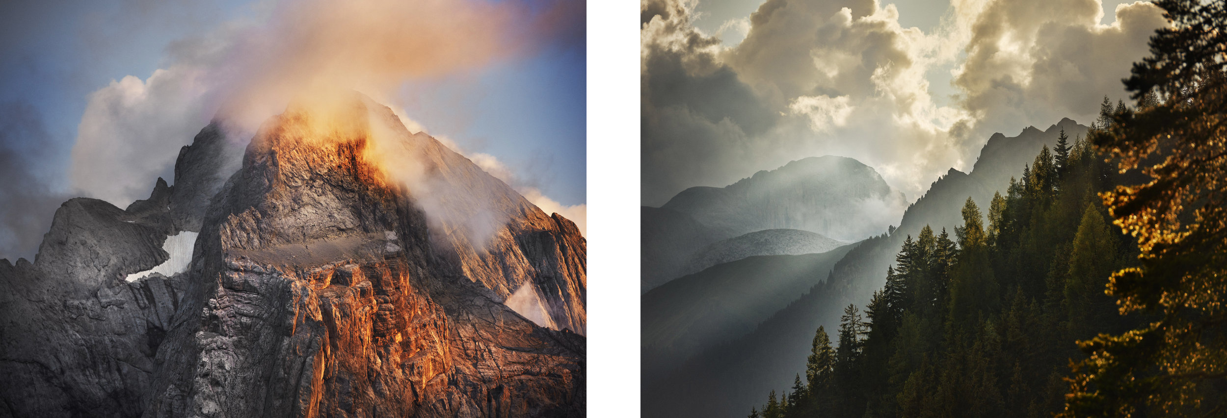 The obvious use of one lenses is to frame up distant subjects. In these images - from the Italian Alps on the left and the Austrian Alps on the right - we have used telephoto lenses to pick out details of evening light in the mountains.