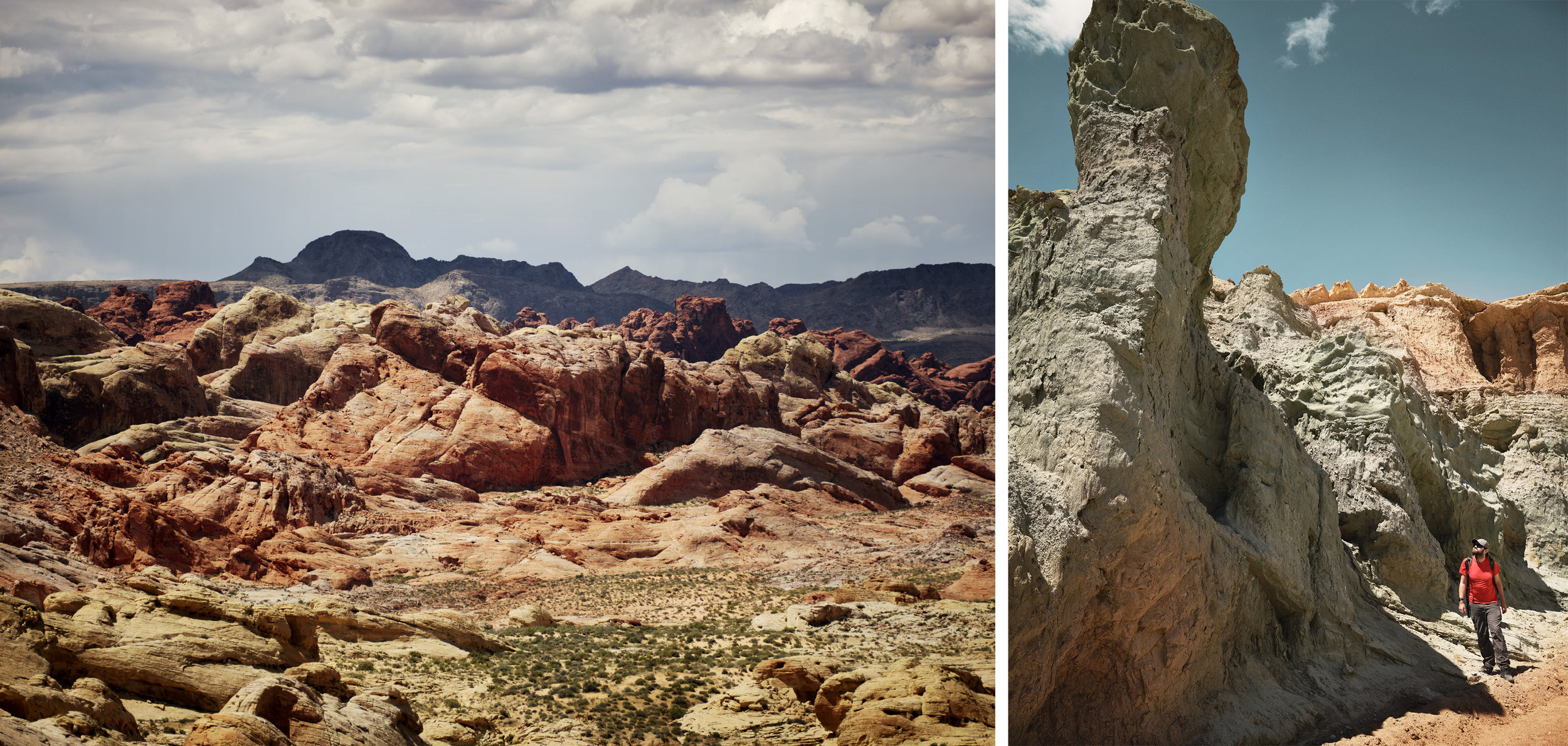 Left: Valley of Fire State Park, Nevada, Right: Rainbow Basin, California