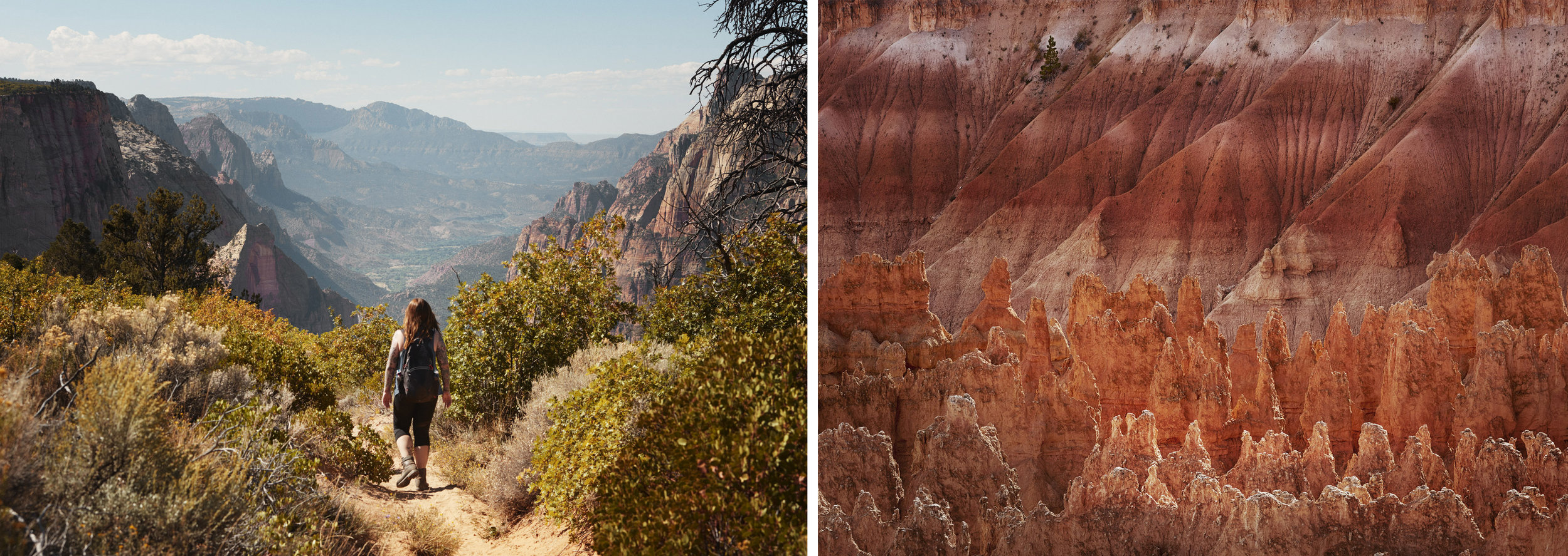 Left: Zion National Park, Right: Bryce Canyon National Park