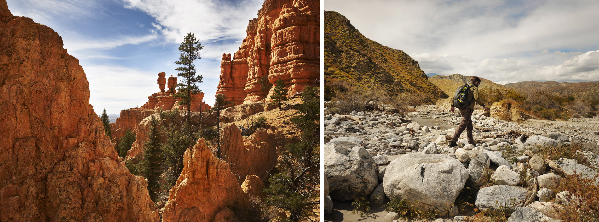 Left: Red Canyon, Utah Right: Sand to Snow National Monument, California