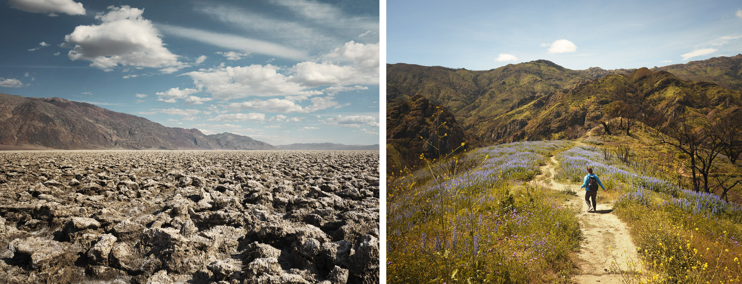 Left: Death Valley National Park, California, Right: Malibu Creek State Park, California