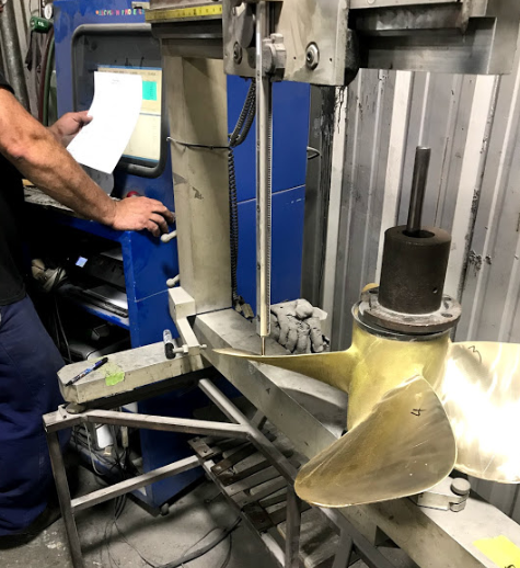 Prop being scanned into PropView for customer's before and after analysis. This process allows us to identify weak areas, document all damages and ultimately restore each prop to it's optimal conditions.