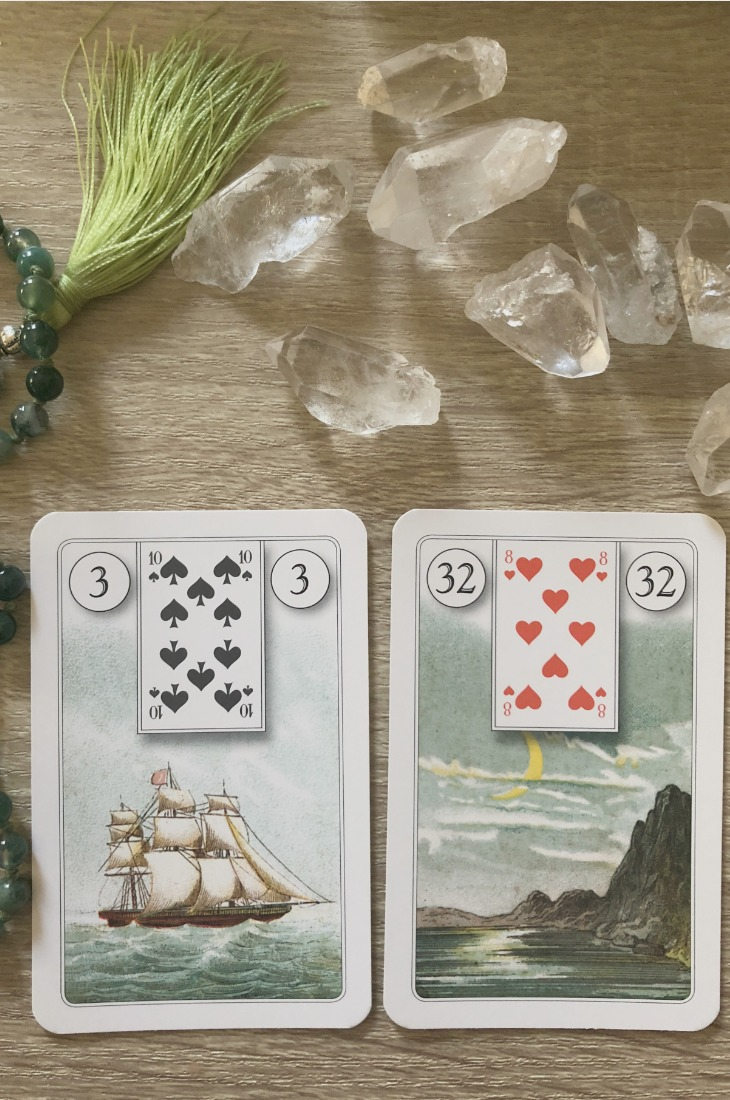 Lenormand Ship card combinations and interpretations. Learn how to combine the Lenormand Boat card for general, love, business, money, health and other types of readings. Ship is also known as The Boat. Here is how to combine it with the House, Book, Moon, Stork and other cards from your deck.