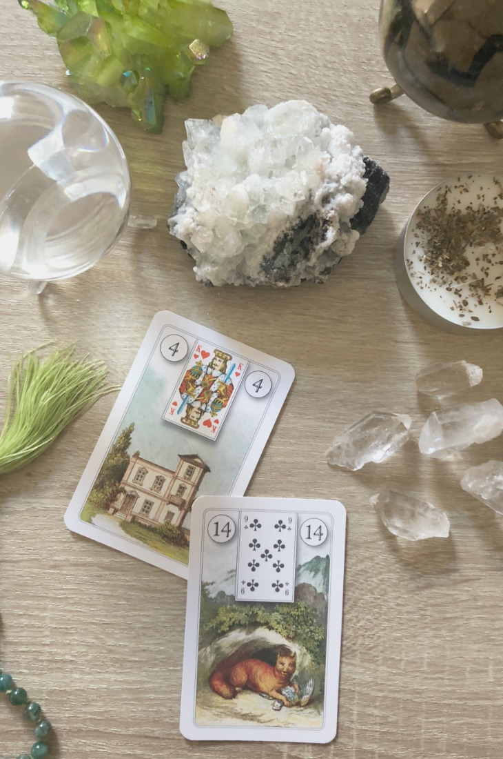 Lenormand Home card combinations and interpretations. Learn how to combine the Lenormand House card for general, love, business, money, health and other types of readings. Here is how to combine house with Fox, Book, Child, Scythe, Key, Whip, Clover and Mice and other cards in your deck.