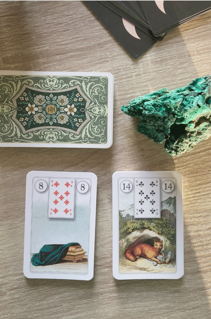 Lenormand Coffin card combinations and interpretations. Learn how to combine the Lenormand Coffin card for general, love, business, money, health and other types of readings. Here is how to combine Coffin with Fox, Bouquet, Scythe, Whip and other cards in your deck.