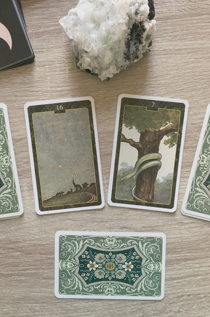 Lenormand Stars card combinations and interpretations. Learn how to combine the Lenormand Stars card for general, love, business, money, health and other types of readings. Here is how to combine Stars with Birds, Moon, Garden, Mountain and other cards in your deck.