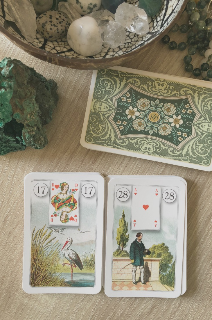 Lenormand Stork card combinations and interpretations. Learn how to combine the Lenormand Stork card for general, love, business, money, health and other types of readings. Here is how to combine Stork with Garden, Letter, Key, Scythe and other cards in your deck.