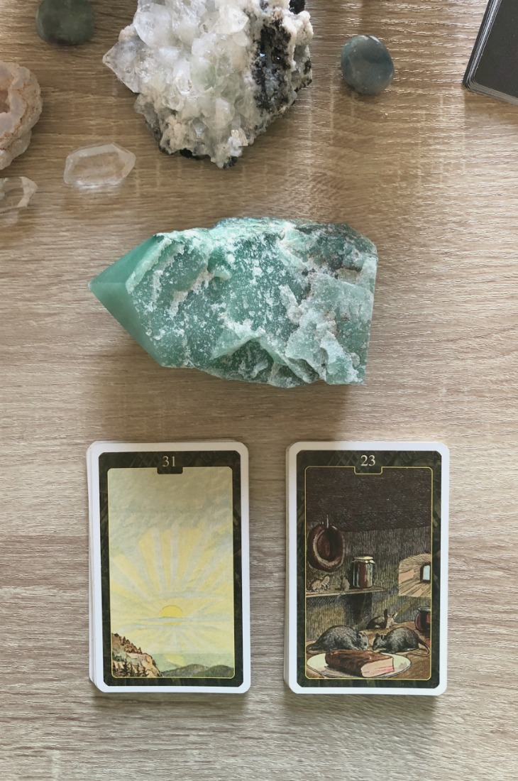 Lenormand Sun card combinations and interpretations. Learn how to combine the Lenormand Sun card for general, love, business, money, health and other types of readings. Here is how to combine Sun with Clover, Sun, Bouquet, Moon and other cards in your deck.